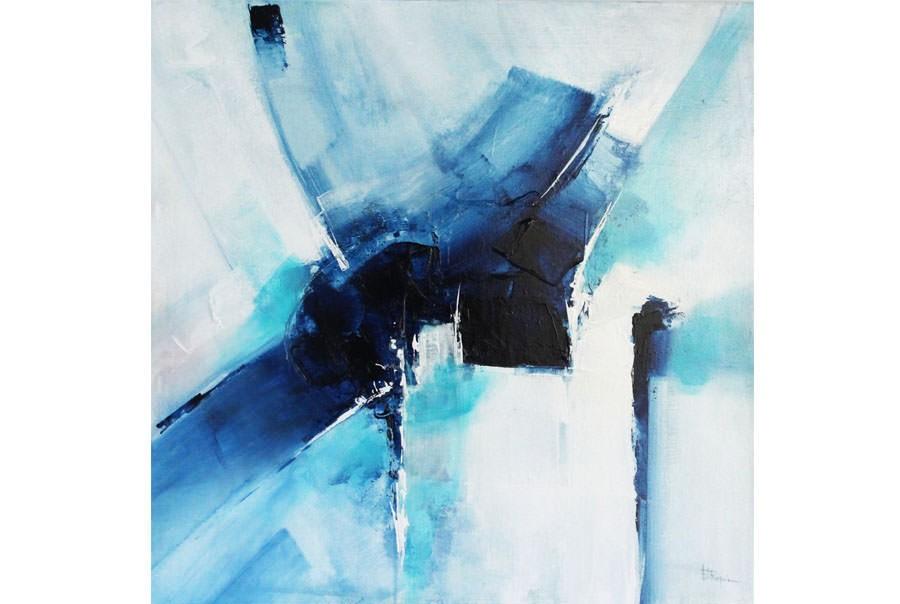 Abstraction lyrique n 3 toile 70x70 cm une bande part for Abstraction lyrique