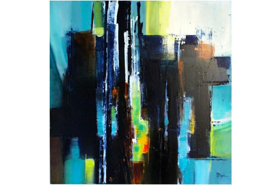 Abstraction lyrique n 5 toile 80x80 cm une bande part for Abstraction lyrique